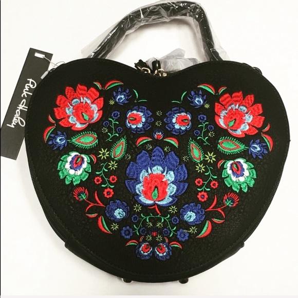 Pink Haley Handbags - Beautiful Heart Shape Bag Embroidered Design